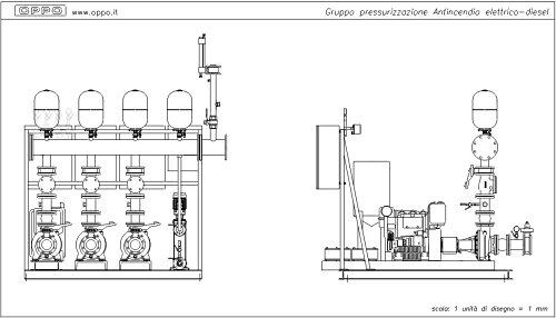 Schema Elettrico Impianto Antincendio : Disegno gruppo pressurizzazione antincendio elettrico diesel