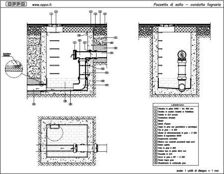 Disegno pozzetto di salto condotta fognaria for Disegno di piano domestico